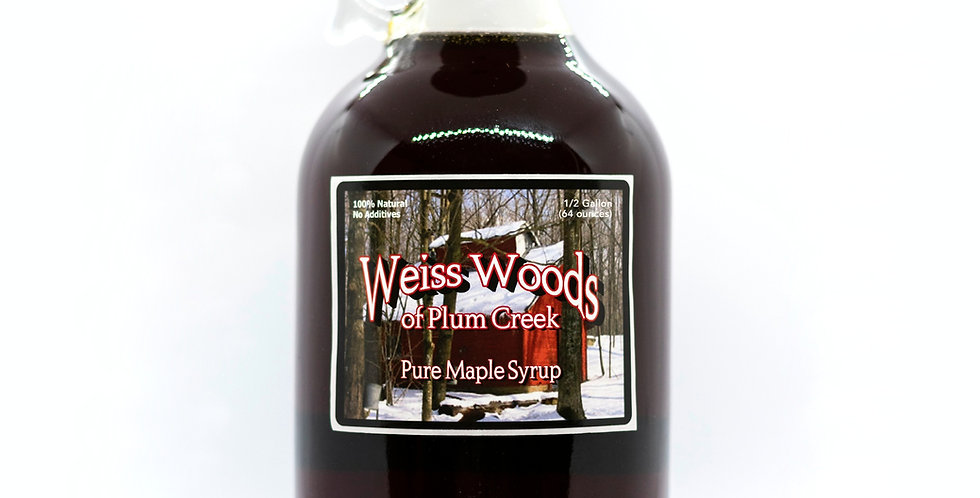 Pure Maple Syrup: 1/2 Gallon (64oz) Glass Container