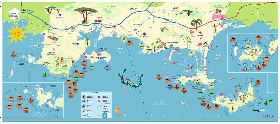 carte des sites de plongées Hyères Var parc national port cros