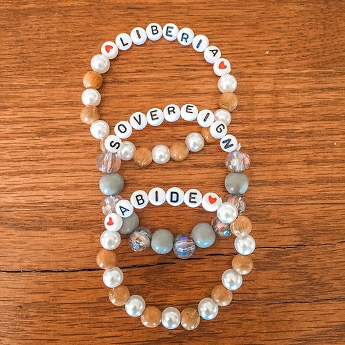 2 Tan + Pearl & 1 Gray Bracelets