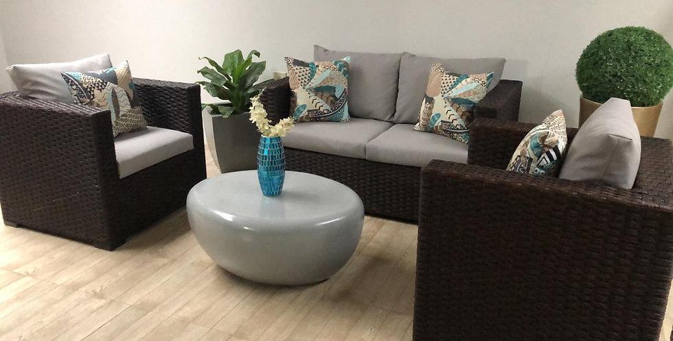 Juego de Sala  con mesa de fibra de vidrio