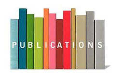 Clip art image of book spines with the word publications layered over it