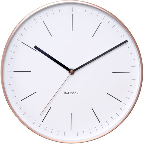 Karlsson Wall Clock Minimal - White with Copper Case