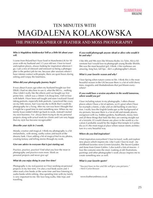Interview in Summerana Magazine