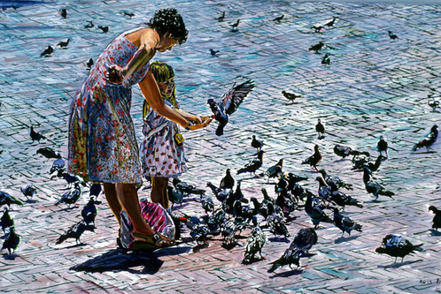 Lady and Pigeons