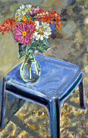 Zinnias on Blue Table