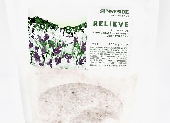 300mg Relieve Bath Salts-Eucalyptus lemongrass+lavender Sunny side Botanicals-