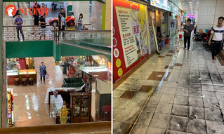 Heavy rain causes flooding at People's Park Complex