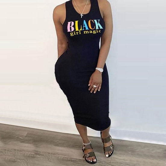 Summer Black-Girl-Magic Sleeveless Midi Dress