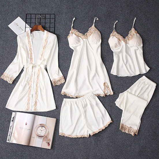 Pajama Set with Robe, Shorts, Nightgown, and Pants