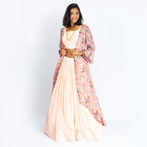 Love Her Wild Floral High Low Duster & Maxi Skirt / Dupatta