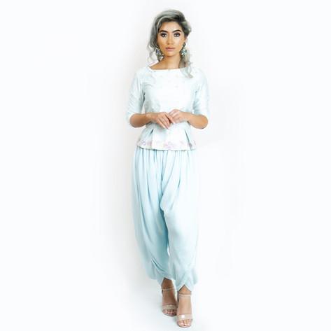 Love Her Wild Peplum Top & Drape Dhoti Trouser