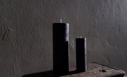 BLACK PURE BEESWAX PILLAR CANDLE