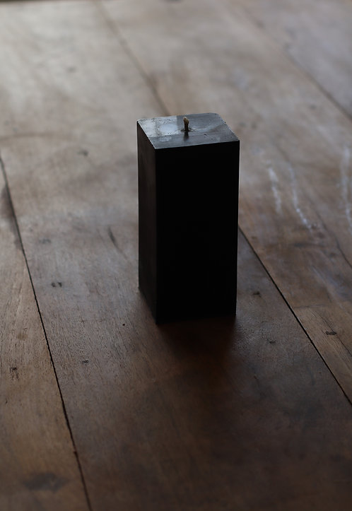 SQUARE BLACK PURE ORGANIC BEESWAX PILLAR CANDLE