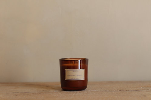 FRANKINCENSE + PATCHOULI - AMBER CANDLE