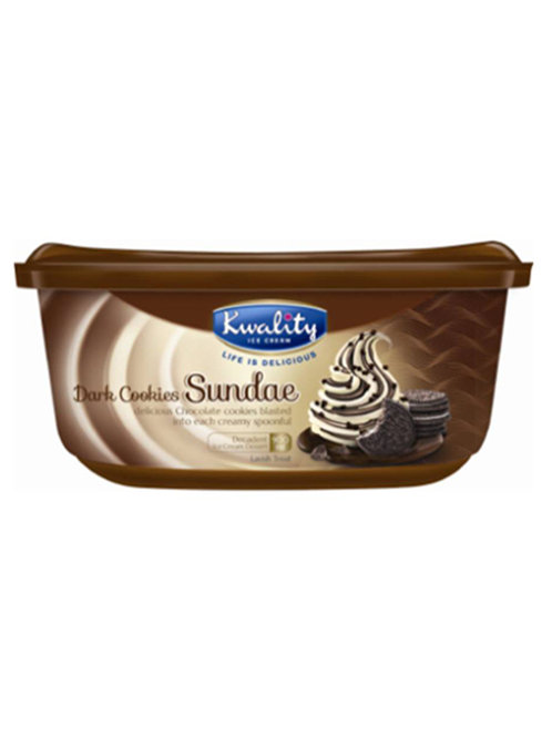 Kwality Dark Cookies Sundae Ice Cream - 900ml