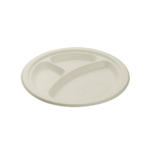 Falcon Biodegradable Round Plate 3 Section - 10 Inch