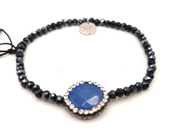 Bracelet acier pierre bleue