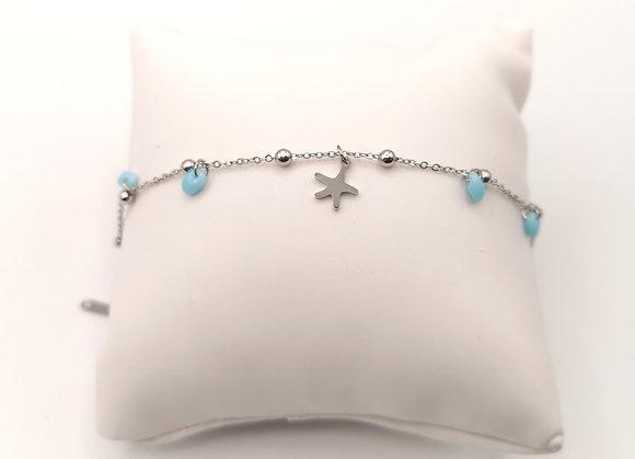 Bracelet acier perles bleues