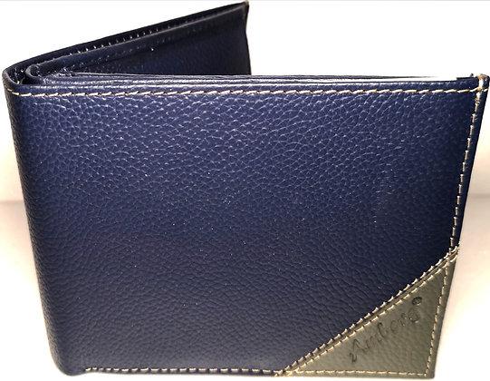 Portefeuille 9 - Cuir véritable - Bleu et gris