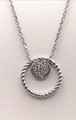 Collier argent rodhié cercle torsadé et oxyde de zirconiums