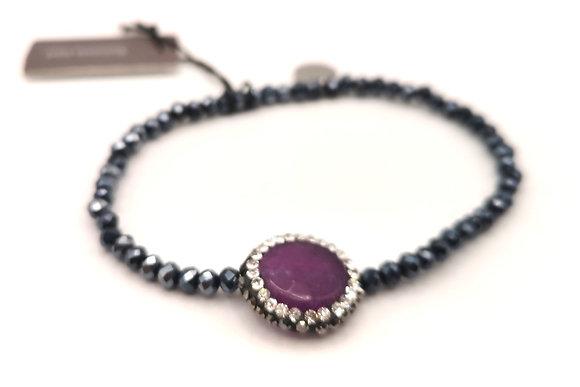 Bracelet acier pierre violette