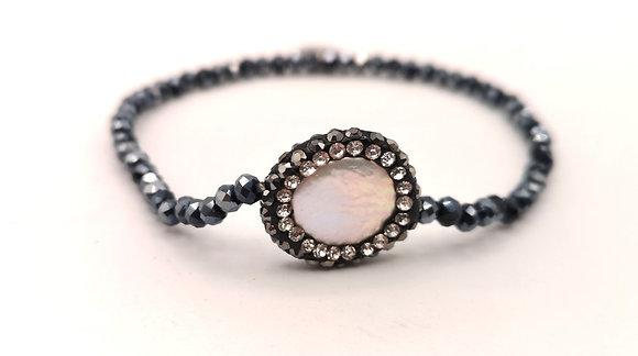Bracelet acier pierre blanche