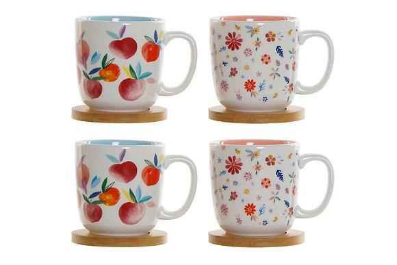 Coffret de 4 mugs et sous tasses bambou 180ml