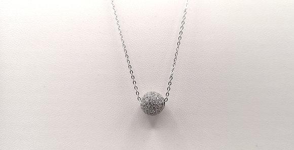 Collier argent rodhié boule oxyde de zirconium