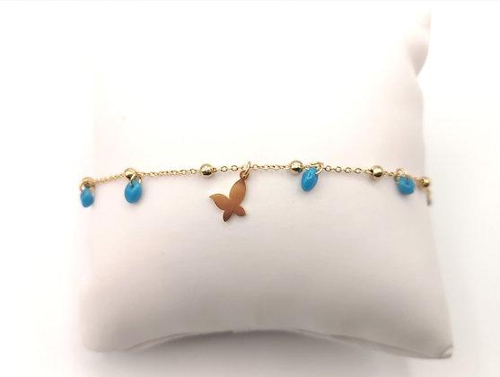 Bracelet acier doré perles bleues