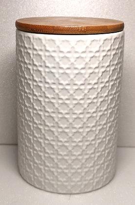 Pot céramique et couvercle bambou - motifs ronds