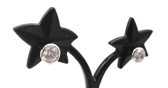 Boucles d'oreille argent rhodié et oxyde de zirconium