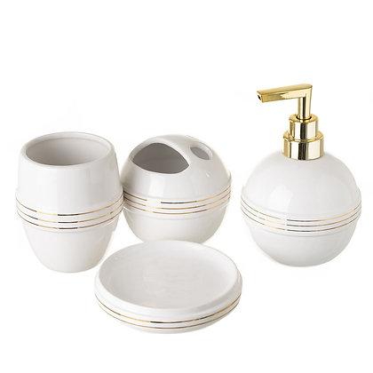 Ensemble de salle de bain céramique blanc et or