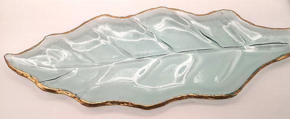 Vide-poche feuille en verre liseré doré
