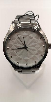 Montre acier femme-cadran gris géométrique