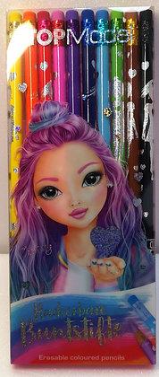 Ensemble 10 crayons de couleurs effaçables - Top Model