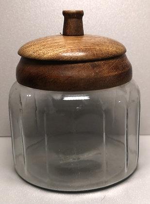 Pot en verre et couvercle bois