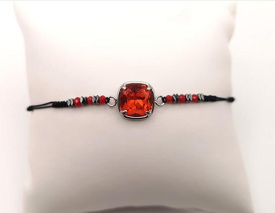 Bracelet acier pierre orange