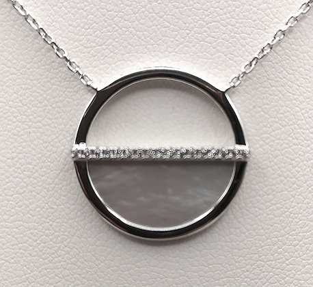 Collier argent nacre et oxyde de zirconium