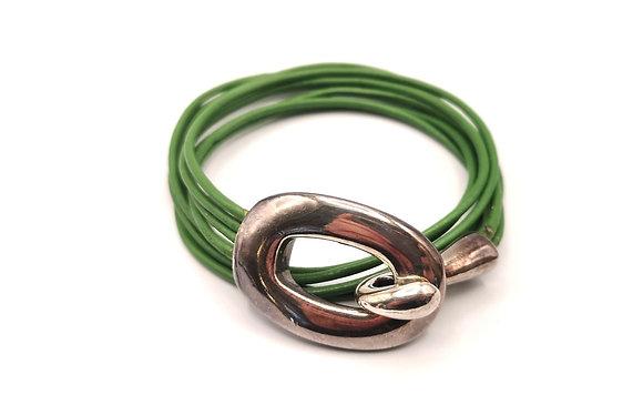 Bracelet cuir et acier vert