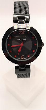 Montre fine acier noir-Chiffres et aiguilles rouges-Skyline