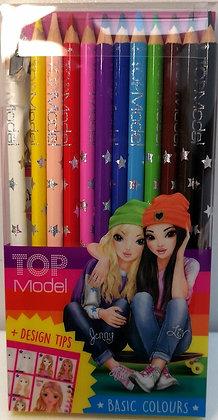 Pochette 12 crayons de couleur - Top Model