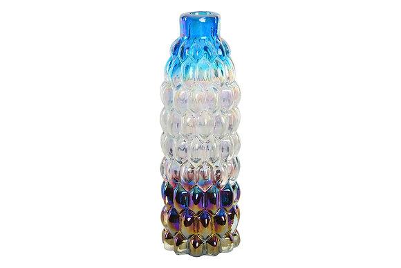 Vase verre bleu irisé 8x8x27