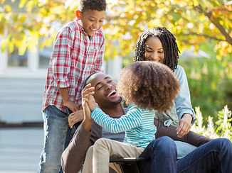 Family smiling and laughing
