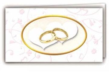 Biglietto matrimonio anelli cuori