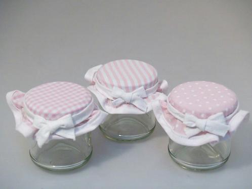 Barattolino in vetro con tappo in tessuto rosa