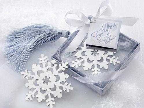 Segnalibro fiocco di neve con nappina e scatolina bianca