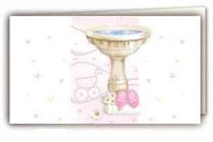 Biglietto fonte battesimale rosa