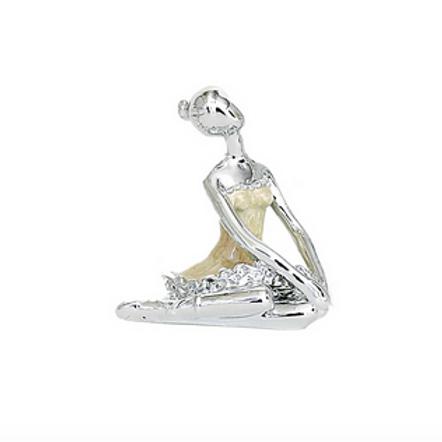 Ballerina seduta resina argentata cm. 4