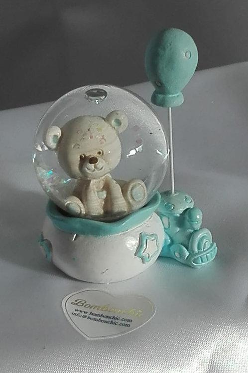 Palla di neve con orsetto azzurro