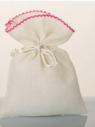 Sacchetto organza rosa bordato